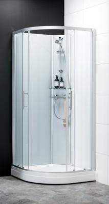 Dusjkabinett 900x900 mm, Alu/kritthvitt glass, buet, x dusjkran