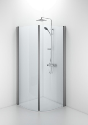 SBNK 900 buet dusjvegg, matt aluminium/kl glass