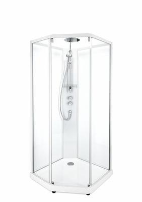 Porsgrund Showerama 10-5 Comfort pentagonal, hvite profiler og klart glass framparti/frostet glass bakparti 800x900