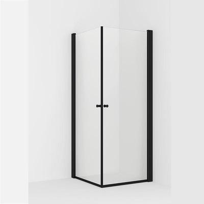 VikingBad LIAM Dusjhjørne, 100x100cm Sort matt profiler, klart glass, 195cm