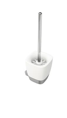 White Toalettbørste med holder, veggmodell