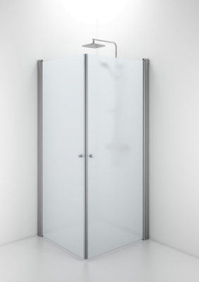 SPNF 800 rett dusjvegg, runde håndtak , matt aluminium/frostet glass