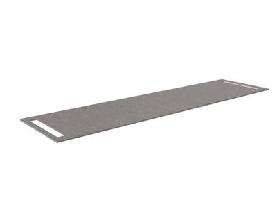 Benkeplate HPL 180 cm med håndkleholder begge sider, grå antrasitt