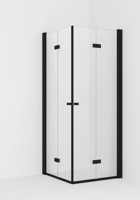 VikingBad LIAM Dusjhjørne, 70x80cm H Sort matt profiler, klart glass, 195cm