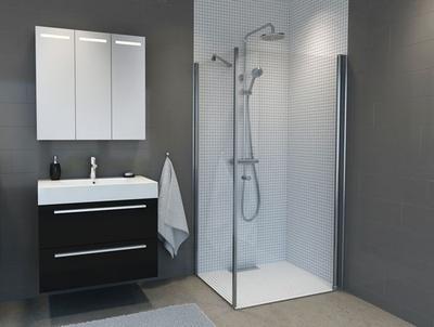 Dusjhjørne, m/100cm rett dusjdør + 70cm glassfelt
