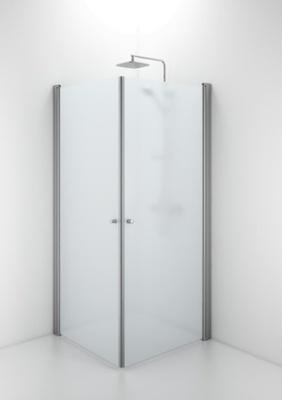 SPNF 900 rett dusjvegg, runde håndtak, matt aluminium/frostet glass
