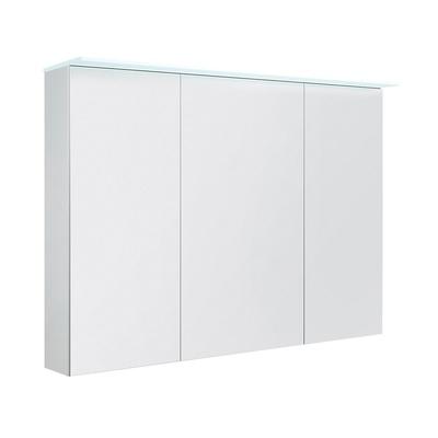 Speilskap med lystopp, hvit høyglans