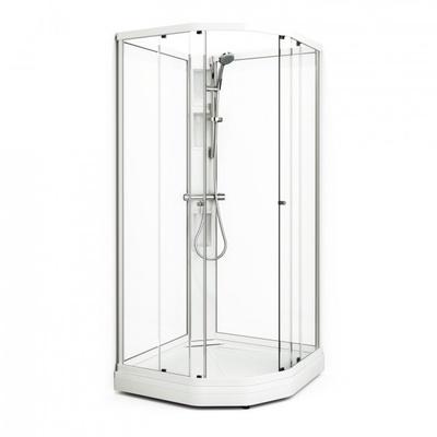 Semi Dusjkabinett 90x90 cm, hvit/klar, komplett