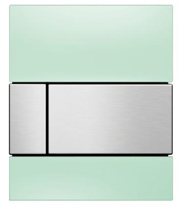 Tece Tec Esquare Urinal Betjeningsplate. Mintgrønt Glass/Knapp Børstet Rf. Stål