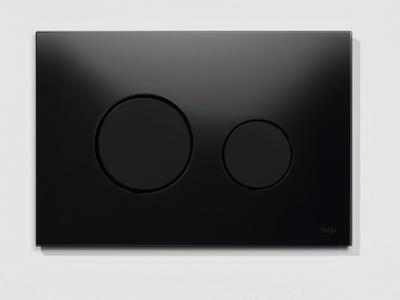 Tece TECEloopbetjeningsplate.svartglass/svarteknapper