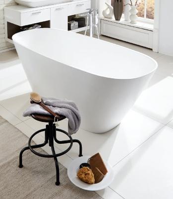 White 180x80 cm White ovalt badekar Frittstående, Mineral cast