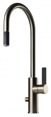 Tapwell ARM885 Brushed Nickel/Sort Kjøkkenbatteri m. uttrekk og avst.