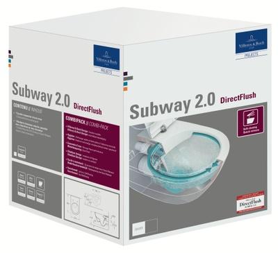Toalettskål for veggmontering, 565x375 mm,direct flush, inkl. slim sete med SC og QR