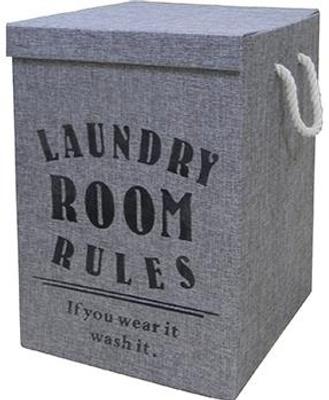 """Esbada Esbada diverse Skittentøykurv, Grå Lin, """"Laundry Room Rules"""""""