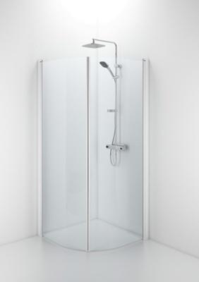 SBVK 800 buet dusjvegg, hvit/klart glass