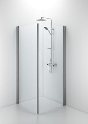 SPNK 1000 rett dusjvegg, matt aluminium/kl glass