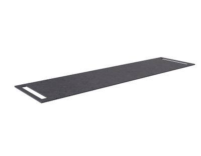 Benkeplate HPL 180 cm med håndkleholder begge sider, sort antrasitt