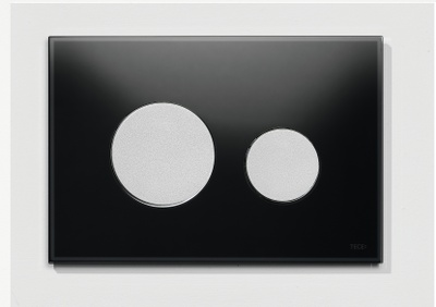 Tece TECEloopbetjeningsplate.svartglass/knapperimattkrom