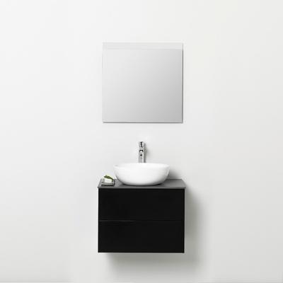 60 cm svart med to myktstengende skuffer og speil.