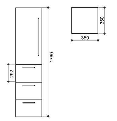 IDA 176 3S (3 skuffer) høyskap, sort høyglans