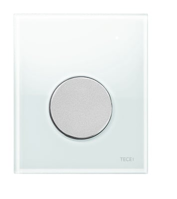 Tece TECEloopurinalbetjeningsplate.hvittglass/knappimattkrom