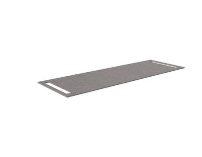 Benkeplate HPL 140 cm med håndkleholder begge sider, grå antrasitt