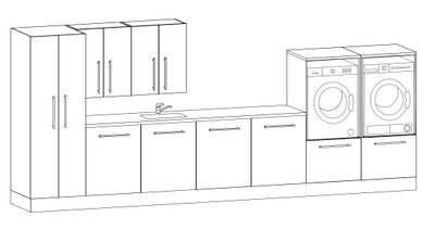 Alterna Vaskeromsinnredning, Forslag kombinasjon 433 cm