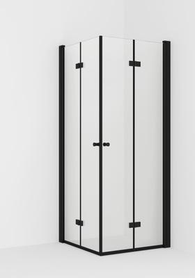 VikingBad LIAM Dusjhjørne, leddet 80x100cm V Sort matt profiler, klart glass, 195cm