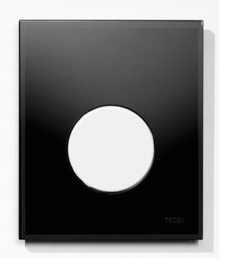 Tece TECEloop urinal betjeningsplate, svart glass/hvit knapp