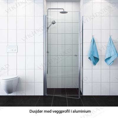VikingBad Dusjdør rett, 90x195, sølv/klart