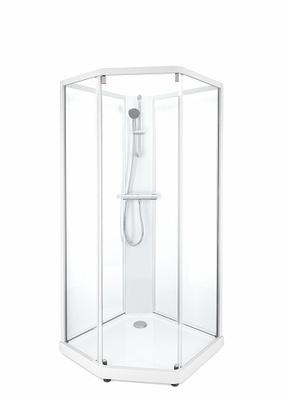 Porsgrund Showerama 10-5 Classic pentagonal, hvite profiler og klart glass framparti/frostet glass bakparti 900x900