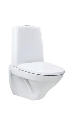 Porsgrund Toalett for veggmontering, hvit, enkelspyling