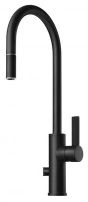 Tapwell ARM885 Matt Sort Kjøkkenbatteri m. uttrekk og avst.