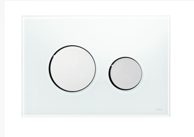 Tece TECEloop betjeningsplate, hvitt glass/knapper forkrommet