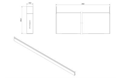 VikingBad LIAM Utfellingsprofil fast +50mm Sort matt profil, 195cm