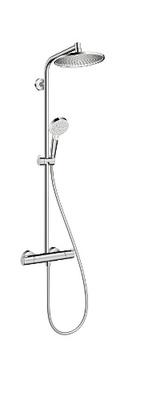 Hansa Crometta S 240 showerpipe takdusj med dusjkran termostatstyrt, krom