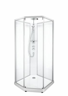 Porsgrund Showerama 10-5 Comfort pentagonal, profiler børstet alu og klart glass 800x900
