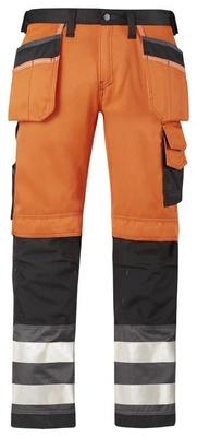 Snickers 3233 High Vis Bukse med hylsterlommer, Klasse 2