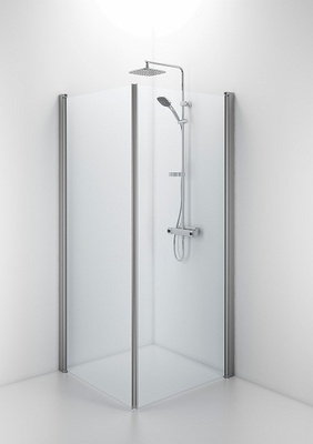SPNK 900 Rett dusjvegg Matt aluminiumsprofil og klart glass