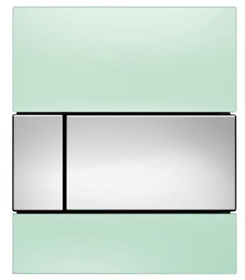 Tece Tec Esquare Urinal Betjeningsplate. Mintgrønt Glass/Knapp Forkrommet