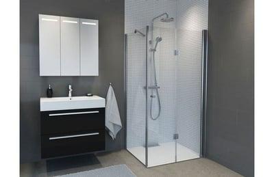 Dusjhjørne, m/100cm dusjdør leddet høyre + 70cm glassfelt