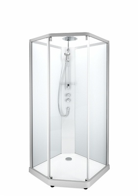 Porsgrund Showerama 10-5 Comfort pentagonal, profiler børstet alu og klart glass framparti/frostet glass bakparti 900x900