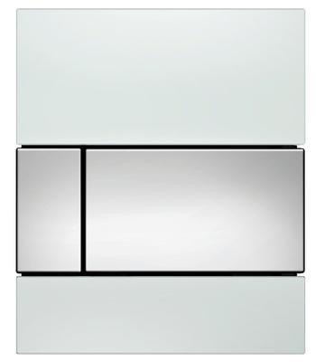 Tece TECEsquare urinal betjeningsplate, hvitt glass/knapp forkrommet