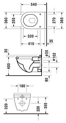 Starck 3 360X540mm toalett f/vegg