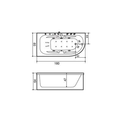Massasjebad W0827 180 System 3, venstre