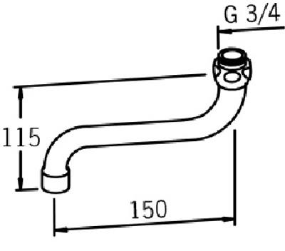 U-rør 150 mm. strålesamler M22 X 1 innv.