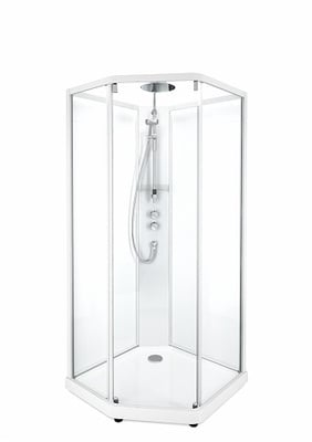 Porsgrund Showerama 10-5  Pentagonal, hvite profiler og klart glass 800x900