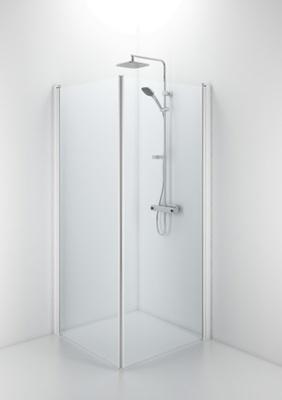 SBVK 900 buet dusjvegg, hvit/klart glass