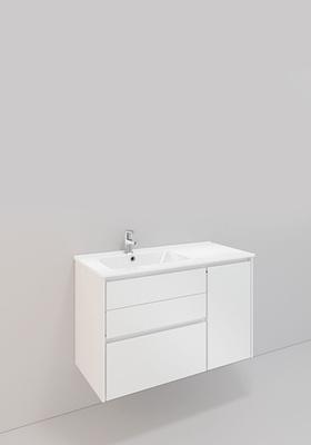 Noro Modell 65, 900 Venstre, H600, Hvit Matt, 3 Skuffer, 1 Dør, L