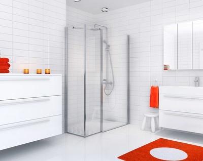 Dusjhjørne m/90cm dusjdør, rett + 2 stk 40cm glass